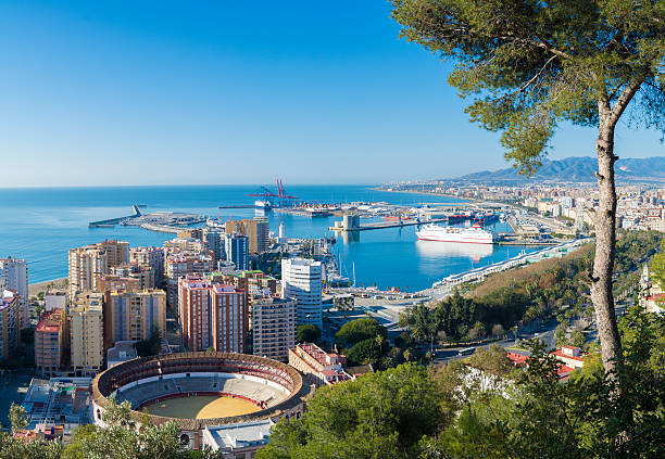 Aerial view of the city of Malaga Andalucia Spain stock photo