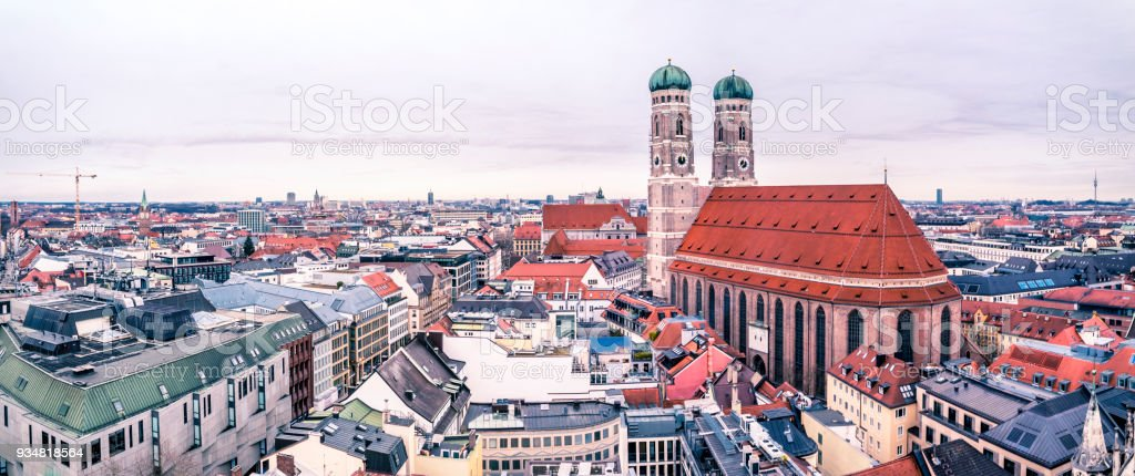 Aerial view of the city of Munich, Germany - All logos and brand names removed stock photo