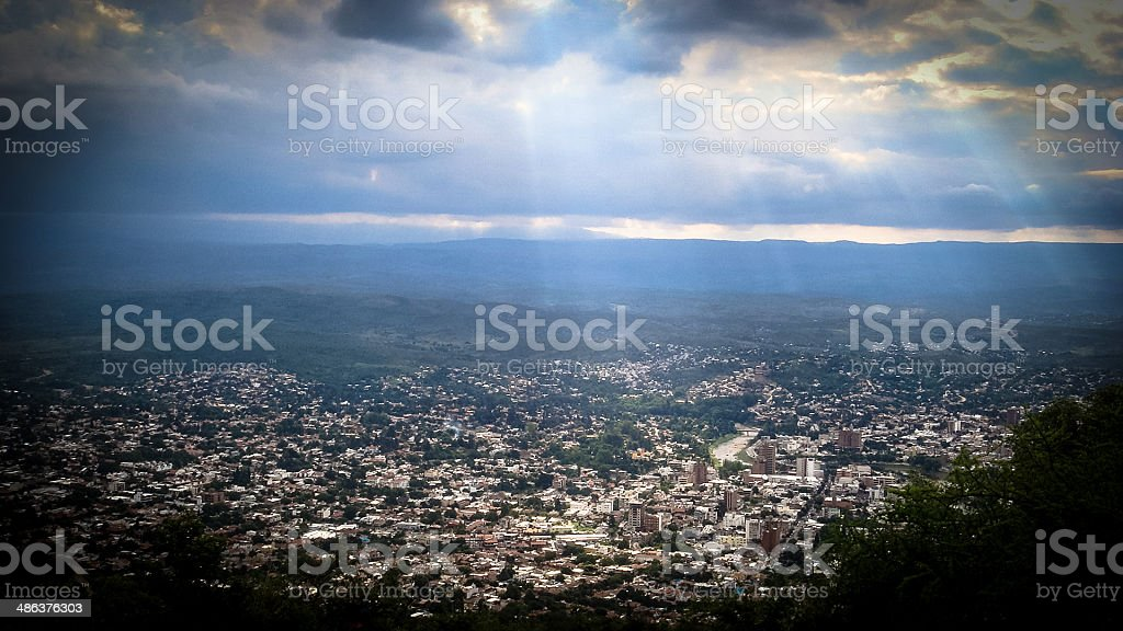 Aerial View of the City of Villa Carlos Paz, Argentina stock photo