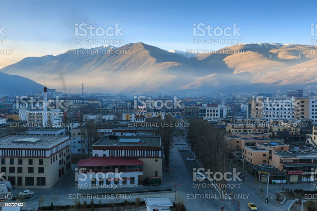 Aerial view of the city of YuShu at sunrise stock photo