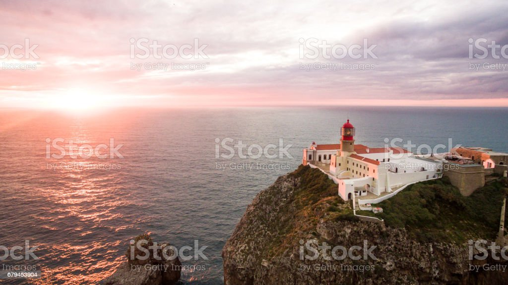 Aerial view of the cliffs of Cape St. Vincent before sunset. Portugal. Region Algarve royalty-free stock photo