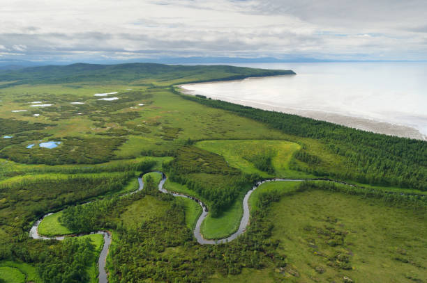 Aerial view of the coast of the sea of Okhotsk.
