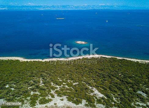 Aerial view of the coastline in Croatia
