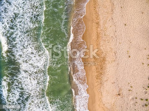 istock Aerial view of the coastline with algae 576908218