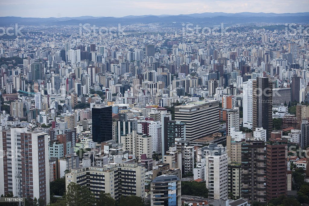 Aerial view of the concrete jungle of Belo Horizonte stock photo