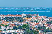 Aerial view of the convent da graca in Lisbon, Portugal.