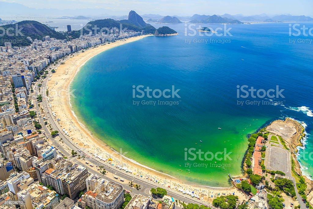 Aerial View of the Copacabana Beach in Rio de Janeiro stock photo