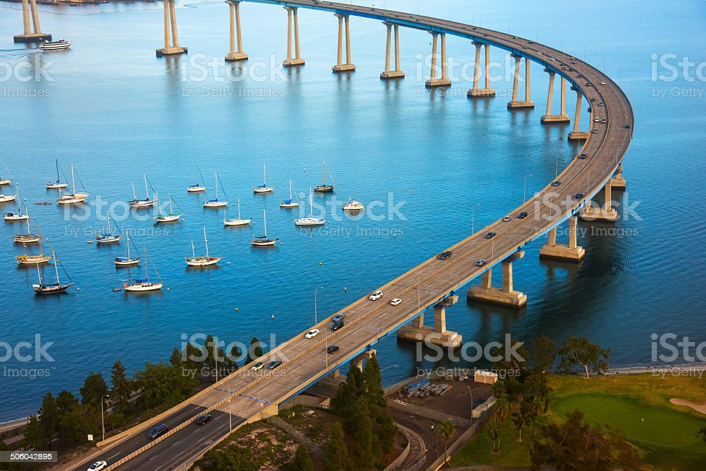 Aerial View of the Coronado Bay Bridge - San Diego stock photo