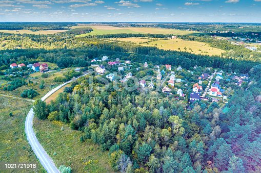 1155573645istockphoto Aerial view of the countryside. Country road to the village in the forest 1021721918
