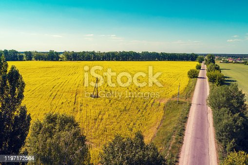 1155573645 istock photo Aerial view of the countryside. The direct country road along the field 1197172564