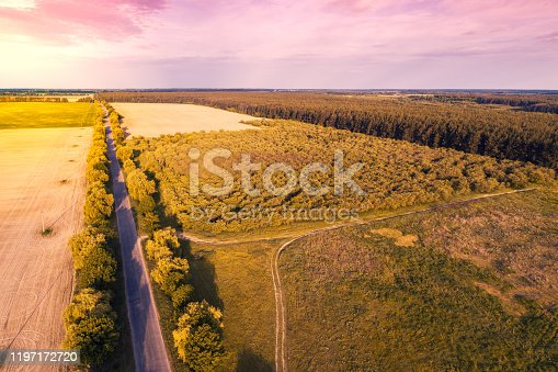1155573645 istock photo Aerial view of the countryside. The direct country road along the field 1197172720