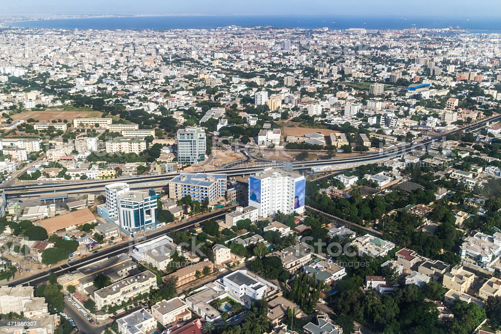 Aerial view of the Dakar city with buildings and houses stock photo