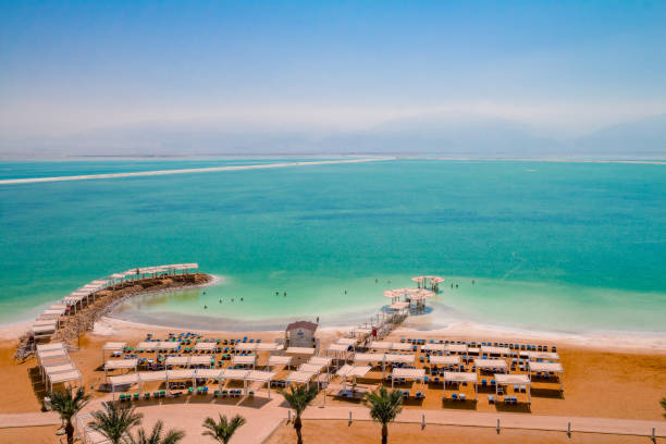 Aerial view of the Dead Sea beach area of Ein Bokek resort in Israel stock photo