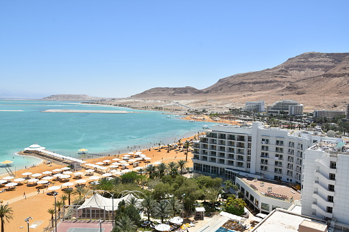 Aerial View Of The Dead Sea Hotels Area Stock Photo - Download Image Now