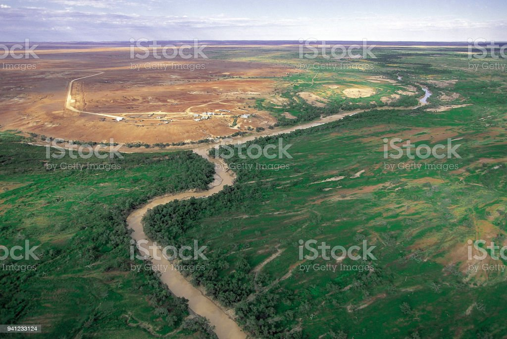 Aerial view of the Diamantina river. stock photo