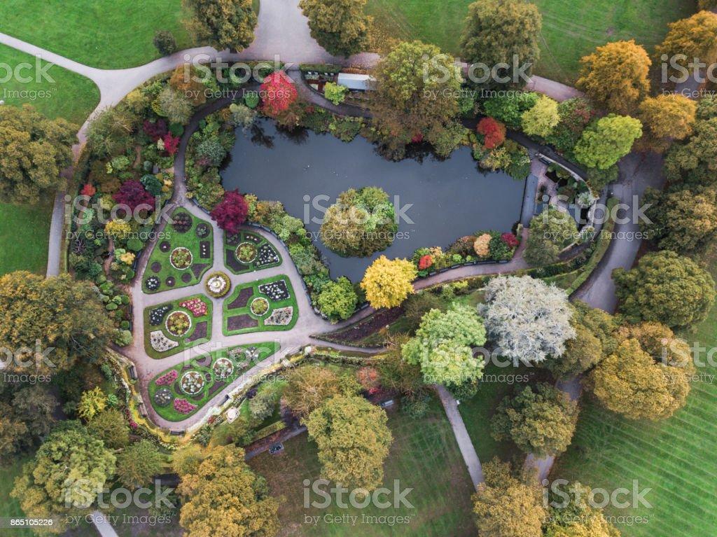 Aerial view of The Dingle, Quarry Park, Shrewsbury. stock photo