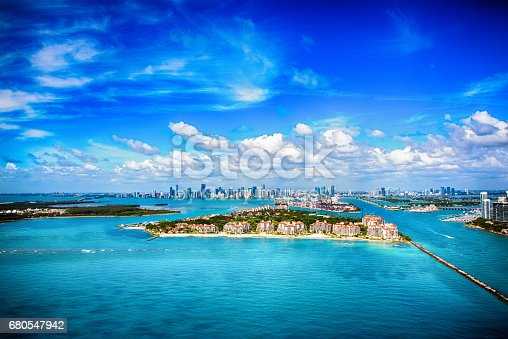 802893644 istock photo Aerial View of the Distant Skyline of Miami Florida 680547942