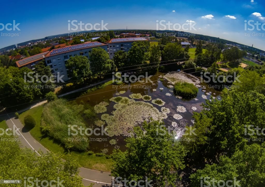 Aerial view of the district Bruck of the city of Erlangen in Bavaria stock photo