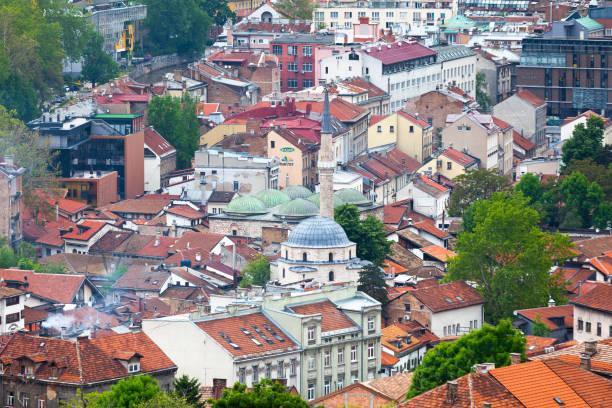 Aerial view of the district of Baščaršija in Sarajevo stock photo