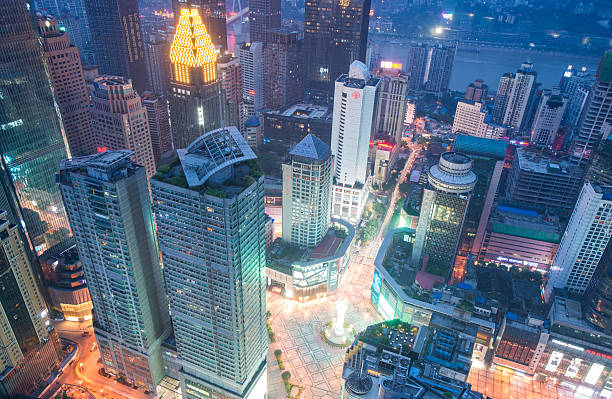 Aerial view of the downtown in Chongqing stock photo