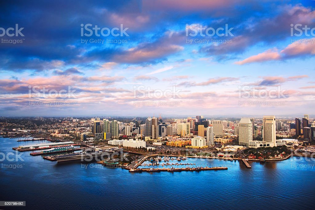 Aerial View of the Downtown San Diego Skyline at Dusk stock photo