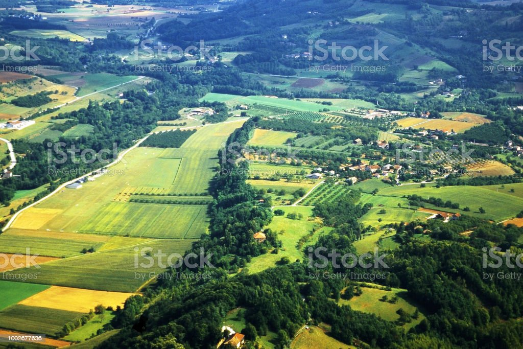 aerial view of the drome region of the south of france - shot on film stock photo