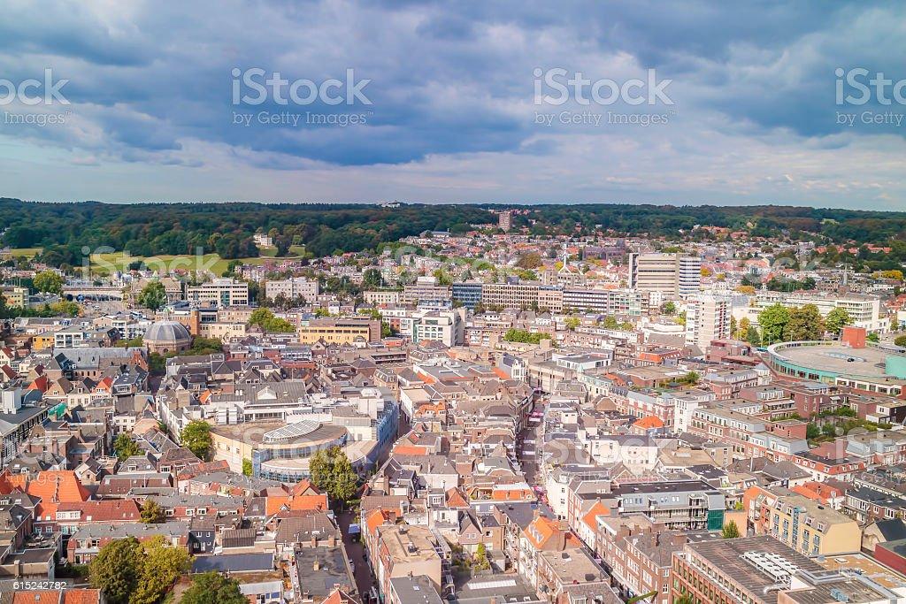 Aerial view of the Dutch city Arnhem foto