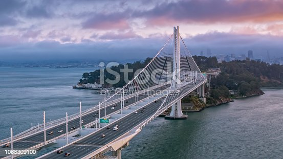 Aerial view of Dwight D. Eisenhower highway and Yerba Buena Island between Oakland and San Francisco, California, USA.