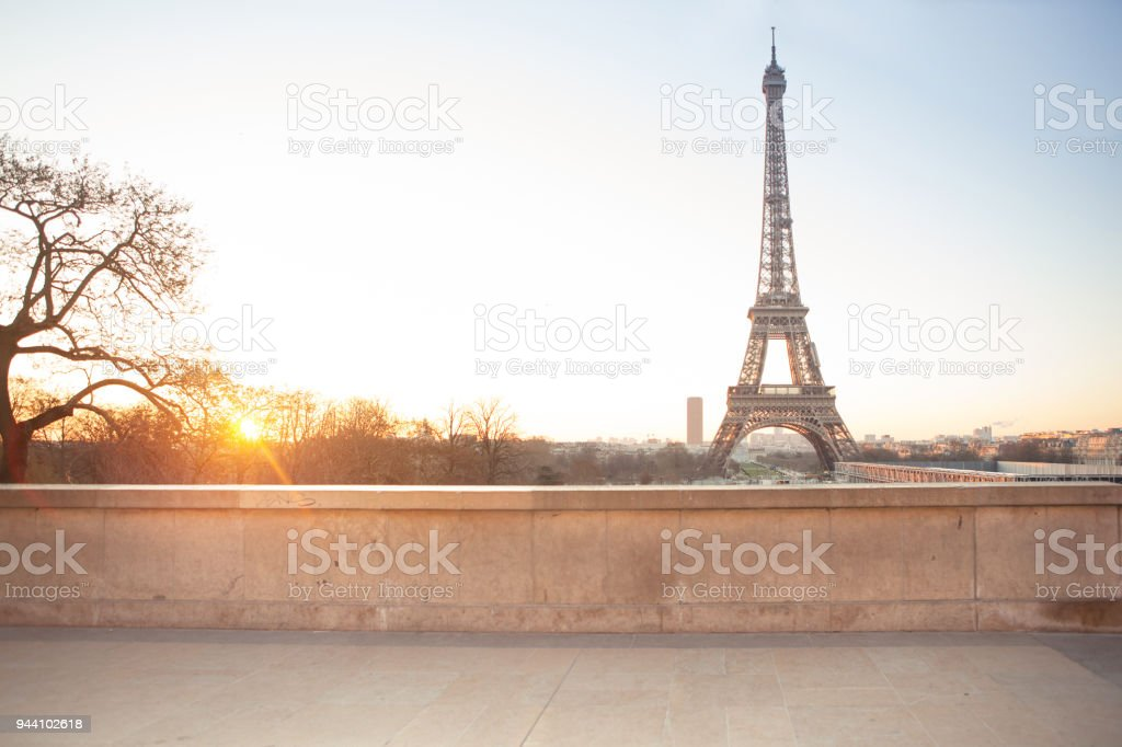 Aerial view of the Eiffel tower stock photo