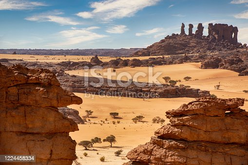 Aerial view of the landscape of the remote Ennedi Mountains (massif) in the Sahara desert, North-East Chad. The Ennedi massif was declared as an UNESCO World Heritage site in 2016.