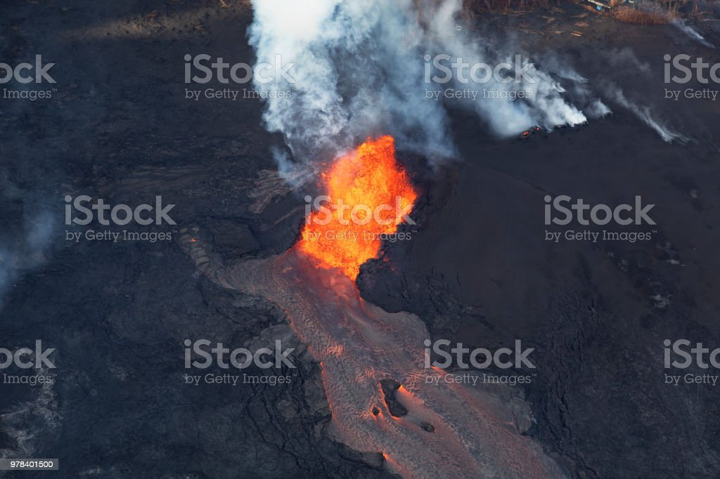 Aerial view of the eruption of the volcano Kilauea on Hawaii, in the picture Fissure 8, May 2018 stock photo