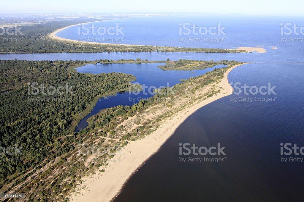 Aerial view of the estuary. Vistula river stock photo
