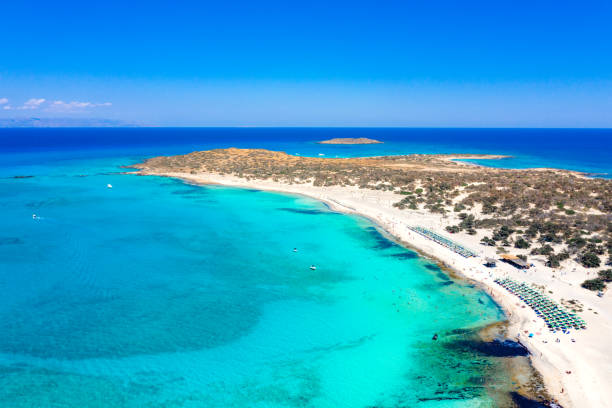 Aerial view of the exotic Chryssi island at the south of Crete, with the amazing Golden Beach, Greece stock photo