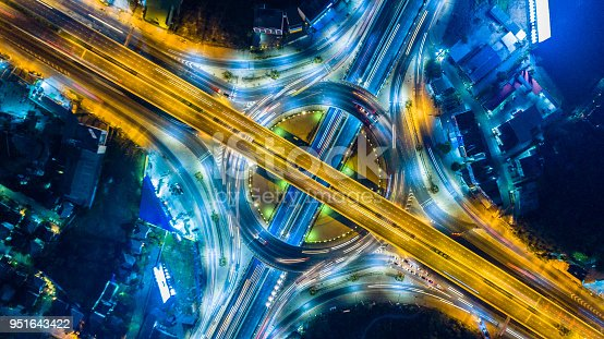 istock Aerial view of the expressway, motorway and highway in circle 951643422