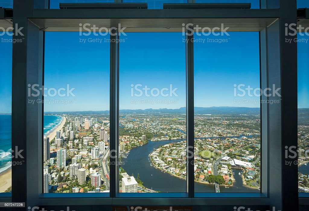 Aerial view of the famed Gold Coast in Queensland Australia stock photo