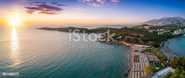 istock Aerial view of the famous celebrity beach Astir in south Athens 891498472
