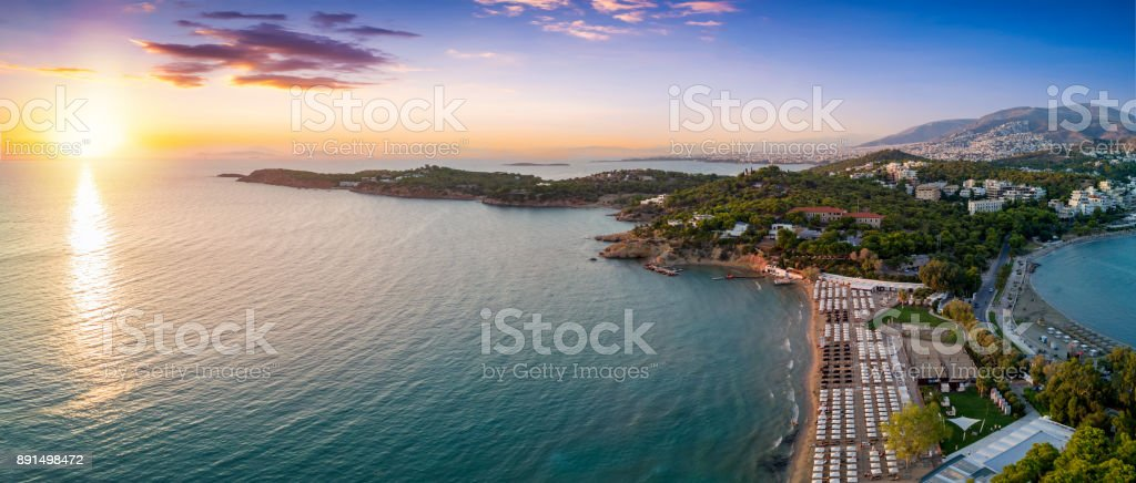 Aerial view of the famous celebrity beach Astir in south Athens stock photo