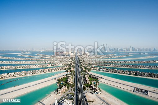 istock Aerial view of the famous palm shaped island 639183930