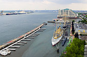 Aerial view of the famous Penns Landing on the Delaware River in Philadelphia, PA