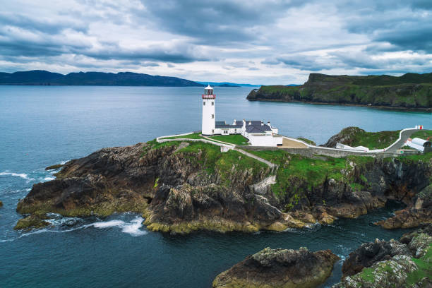 Aerial view of the Fanad Head Lighthouse in Ireland Aerial view of the Fanad Head Lighthouse located on the north coast of County Donegal in Ireland. headland stock pictures, royalty-free photos & images