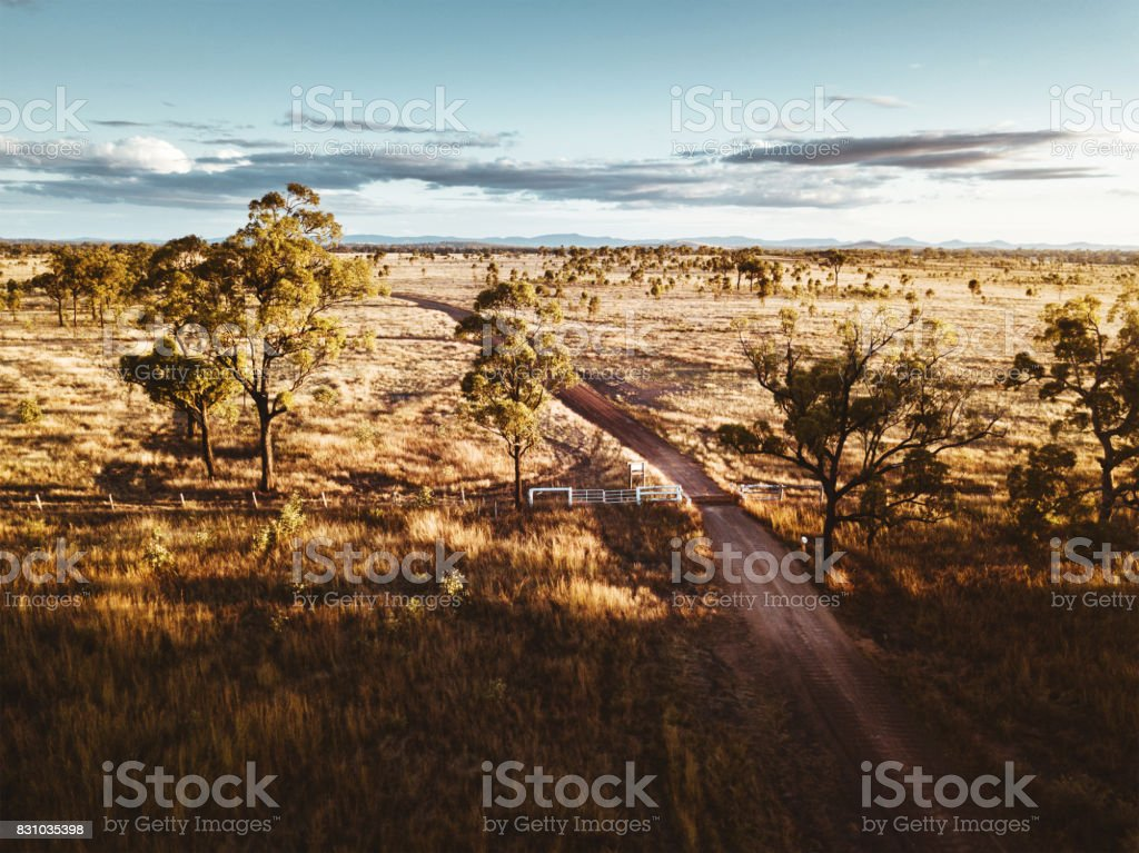 aerial view of the farm in the new south wales countryside stock photo