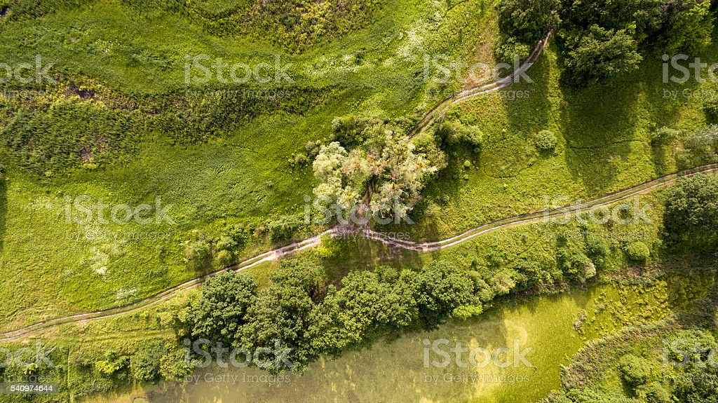 Aerial view of the field with roads and wood. stock photo
