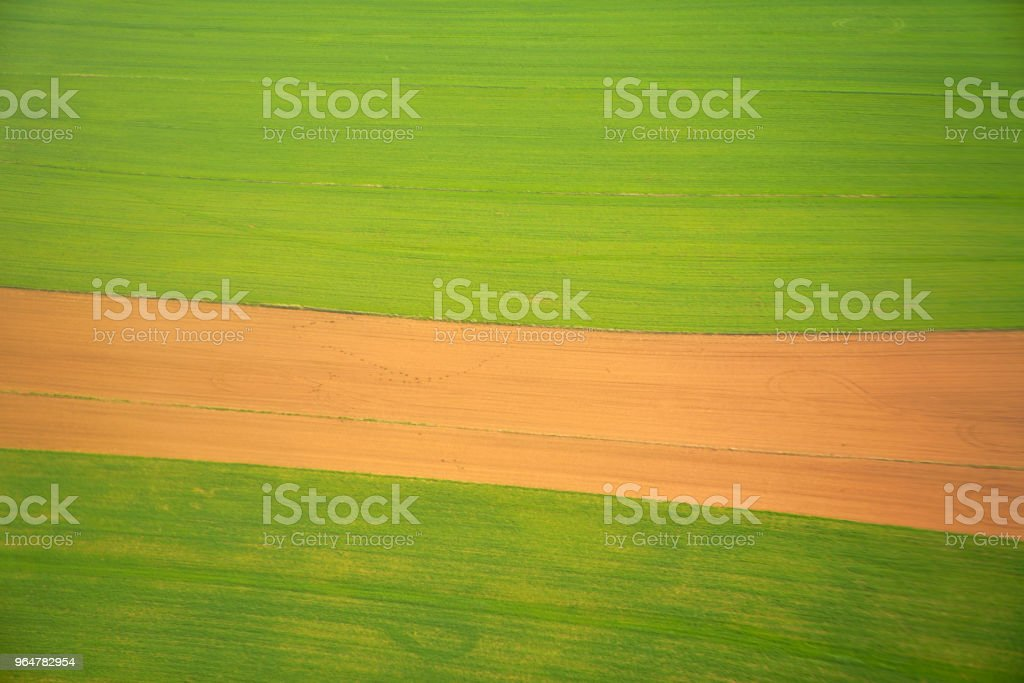 Aerial view of the fields (agricultural parcel) royalty-free stock photo
