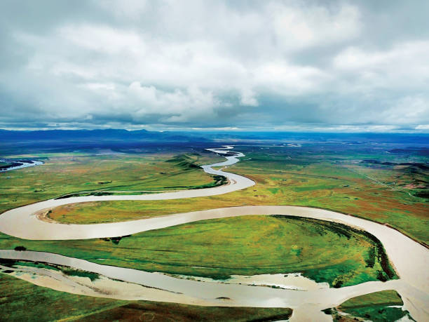 aerial view of the first band of the Yellow river (River Huanghe )in Zoige county, Aba Tibetan and Qiang Autonomous Prefecture, Sichuan province, China. stock photo
