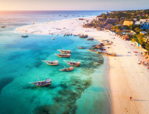 aerial view of the fishing boats on tropical sea coast with sandy beach at sunset. summer holiday on indian ocean, zanzibar, africa. landscape with boat, buildings, transparent blue water. top view - den belitsky foto e immagini stock