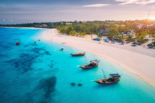 Aerial view of the fishing boats on tropical sea coast with white sandy beach at sunset. Summer holiday on Indian Ocean, Zanzibar. Landscape with boat, palm trees, transparent blue water. Top view stock photo