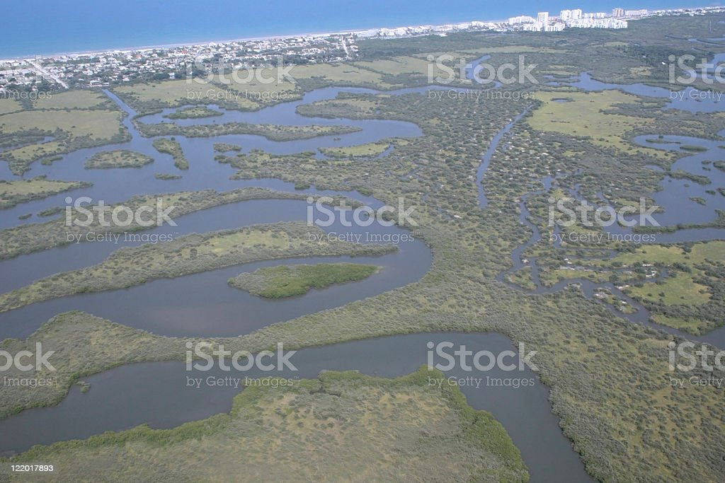 Aerial view of the florida coastline royalty-free stock photo