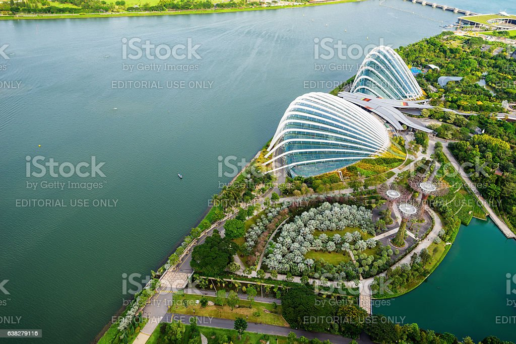 Aerial view of the FlowerDome and cloud forest stock photo