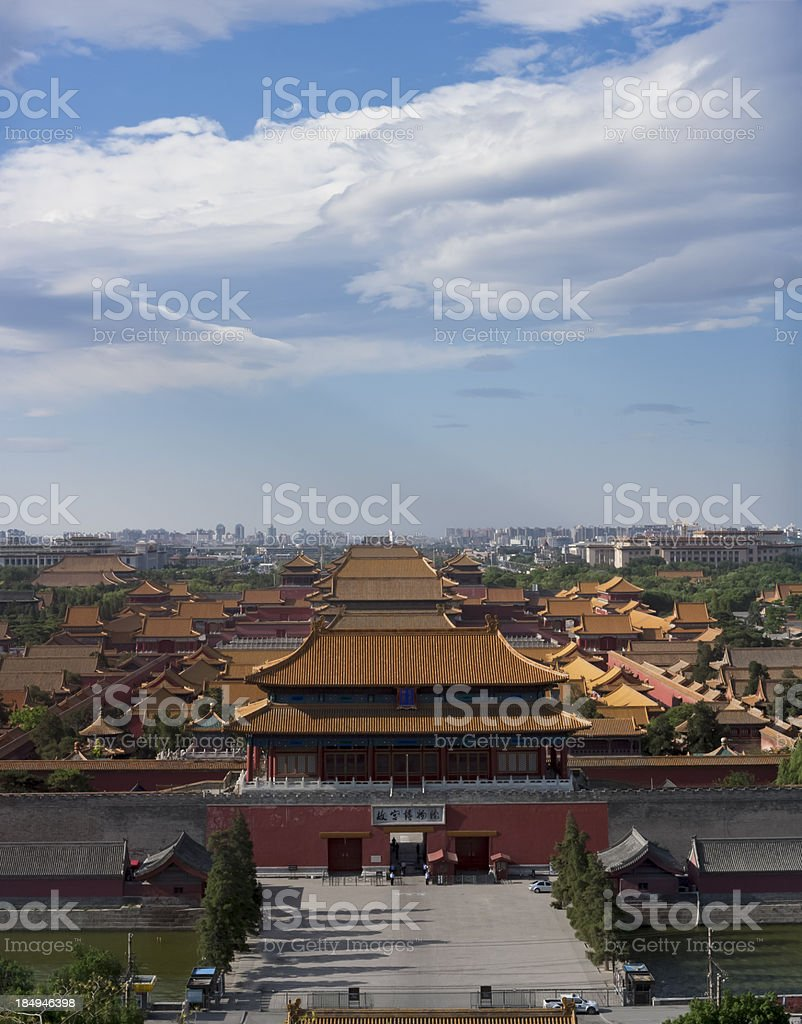 Aerial view of the Forbidden City, Beijing, China stock photo