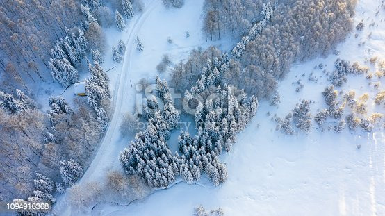istock Aerial view of the forest at winter. 1094916368